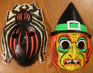 Vtg 60s USA Halloween Costume Masks Witch + Glow in the Dark Spider