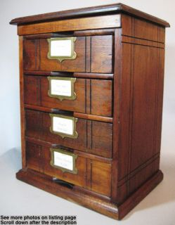 Walnut Wood 4 Drawer File Cabinet c1890 w Brass Label Holders