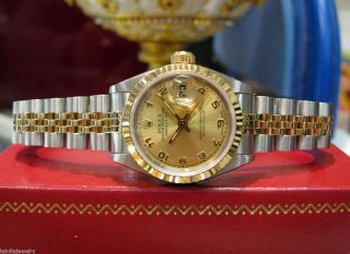 LADIES ROLEX OYSTER PERPETUAL DATEJUST TWO TONE 18K YELLOW GOLD AND