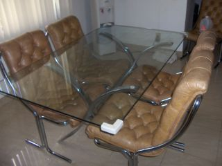 RETRO Glass & Chrome Dining Table Set 4 Chairs pu @Ft.Laud only +BONUS