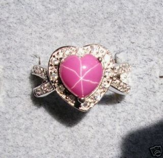 Linde Lindy Star Ruby Created Sapphire Pink Star Ring