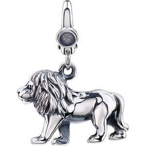 New Sterling Silver Lion Charm Pendant 14x16mm Easy to Use Lobster