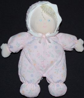 Little Me Plush Doll Pink Floral Pajamas Hat Blonde Stuffed Baby Toy