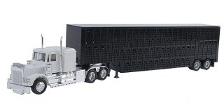 LIVESTOCK TRAILER w/ KENWORTH SEMI & CATTLE TRAILER    RTR ASSEMBLED