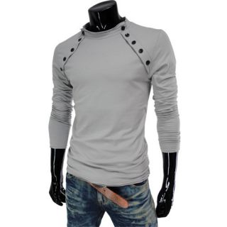 VT07 THELEES Mens Casual Long Sleeve Button Point Round Neck Tshirts