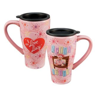 LUCY Large Ceramic TRAVEL Coffee MUG Cup Chocolate Factory Speed it up