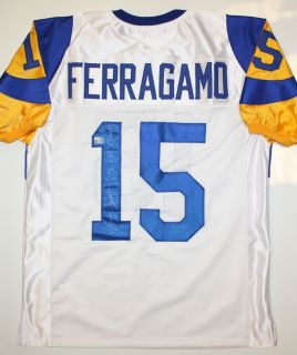 Vince Ferragamo Autographed Los Angeles Rams Jersey AAA Authenticated