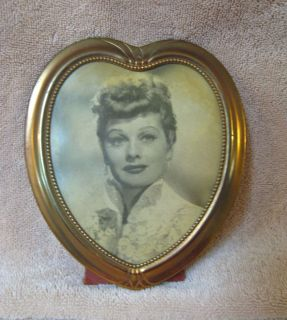 Vtg I Love Lucy Lucille Ball Heart Framed Photo Picture Print