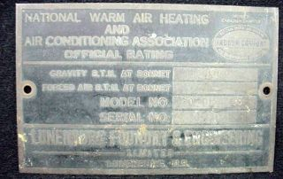 Lunenburg Foundry Engineering Brass Plaque Sign Warm Air Air