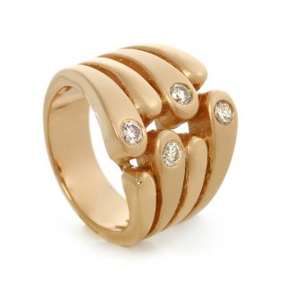Matt High Gloss 14k Yellow Gold Diamond Designer Ring