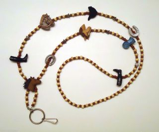 Horses Horse Lovers Blue Ribbon Brown Wood Beads Beaded Lanyard ID
