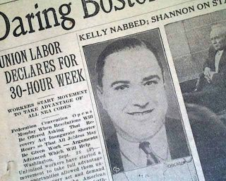 1933 John Dillinger Machine Gun Kelly Capture Newspaper