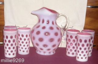 Amazing Fenton Cranberry Opalescent Coin Dot Water Set w 6 Tumblers