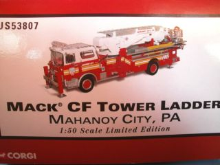 Under Fire Mack CF Tower Ladder Fire Truck 1 50 Red Mahanoy City PA