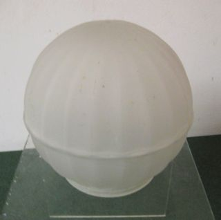 Vtg Frosted 5 inch Round Ribbed Glass Lamp Light Globe Shade