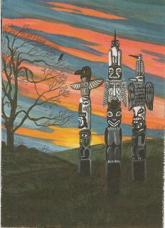 Painting RYTA Illustration Art Native American Totem Pole Tree