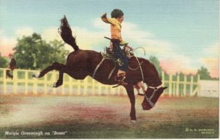Western Rodeo Cowgirl Margie Greenough on Horse Boxer Linen Postcard