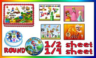 Sheet Super Mario Bros Happy Birthday Cake Topper Edible Icing