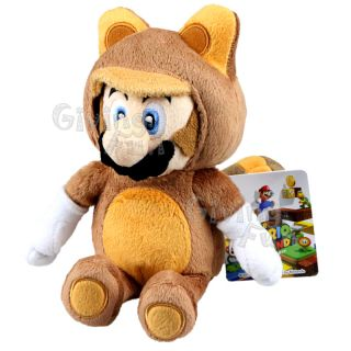 Super Mario Bros 8 Raccoon TANOOKI Mario Plush Doll Toy Sanei