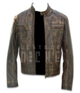 New Contraband Mark Wahlbergs Movie Mens Faded Brown Slim Fit Leather