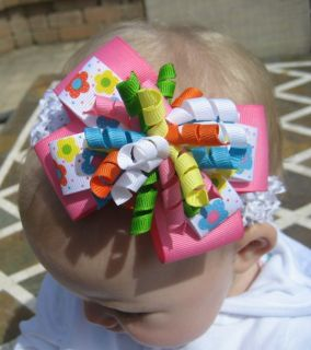 Polka Dot Flowers Layered Korker Hair Bow Headband or Clip