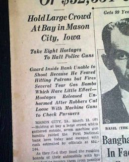 1934 Old Newspaper John Dillinger Mason City IA Iowa Machine Guns Bank