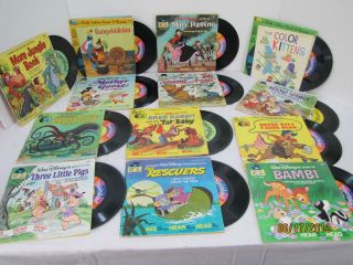 Lot of 20 See Hear Read Books Disney   Peter Pan Records LoOk  33 1/3