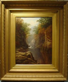 19th C River Landscape North Wales Antique Oil Painting William MELLOR