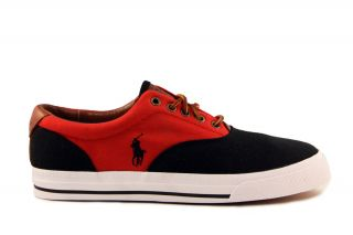 Mens Shoes Polo Ralph Lauren Vaughn Saddle Black Red