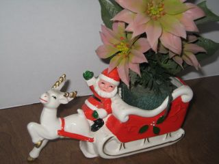 Vintage Brimm Merry Christmas Santa and Reindeer with Pointsettia