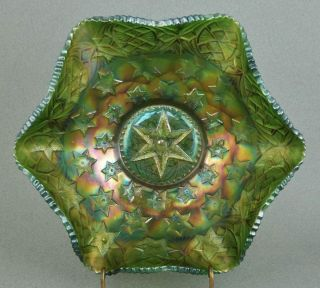 Millersburg Many Stars Green Carnival Glass Bowl