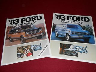 1983 FORD ECONOLINE VAN BROCHURE + FORD CLUB WAGON SALES CATALOG, 2