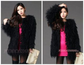Trend Long Hair Curly Faux Fur Long Coat Jacket