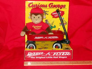 NOS Curious George Mini Radio Flyer Red Wagon Gund Toy Stuffed Animal