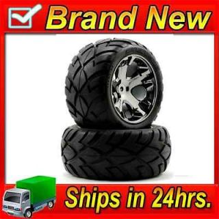 3773A Rear All Star Black Chrome Wheels w/ Anaconda Tires (2) Rustler