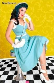 Bettie Page Pin Up Girl Dress  Sea Breeze  NEW adorable for Viva Las