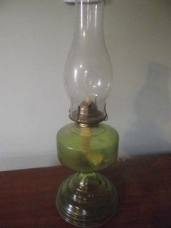 B780) Vintage antique depression green glass oil kerosene lamp w