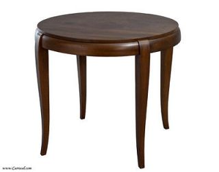 Antique Art Deco French Walnut Round End Table Side Sofa Table from