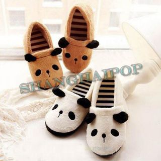 Panda Bear Novelty Slippers Winter Warm Soft Fleece Women Girl Slip On