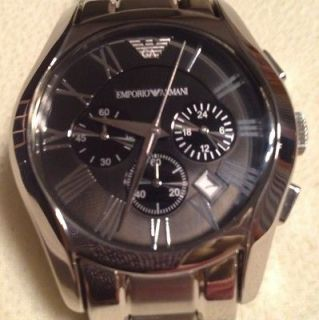 EMPORIO ARMANI AR0673 STAINLESS STEEL CLASSIC CHRONOGRAPH WATCH NWOB