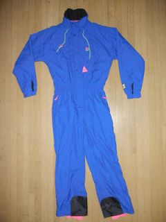 Blue/Pink One Piece SKI SUIT Mens LARGE Waterproof Snowboard Jacket