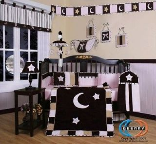 Newly listed Pink Brown Moon & Star 13P Baby CRIB BEDDING SET