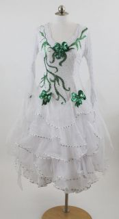 Competition Ballroom Dance Pageant Gown Dress M Green White Bows
