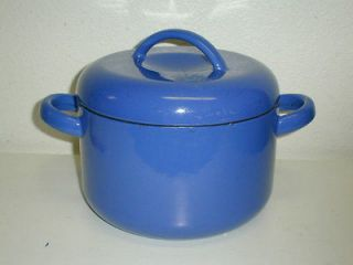 Vtg Unmarked early Dansk? Blue Enamel Stock Pot w/ Lid Cast Iron Great