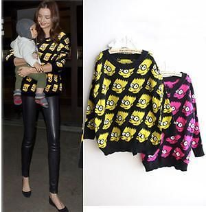 Chic Womens Mens Bart Simpson Top Shirt Jumper Pullover Sweater Blouse