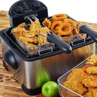 1700 Watt Stainless Stee l Triple Basket Electric Deep Fryer w/ Timer