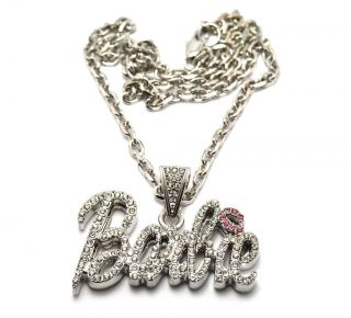 NEW Nicki Minaj Inspired Iced Out  BARBIE  Pendant Necklace Silver