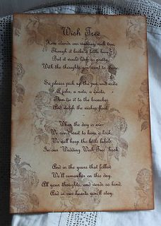 Wedding Wish Tree Poem Vintage Style Beautiful Design Handmade Unique