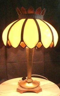 Exquisite Antique Bent Leaded Slag Glass Lamp Tiffany, Handel, Bradley