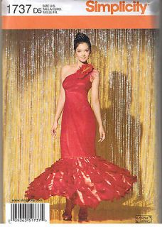 One Shoulder Mermaid Dress Gown Dance Costume Sewing Pattern Sz 4 6 8